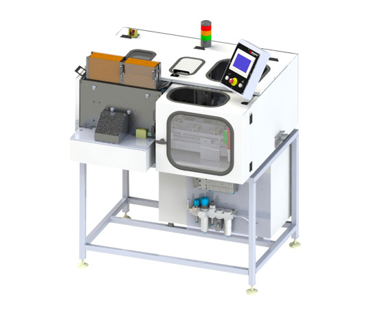 Image of a Hauni tube filling machine (TFM) for the hemp pre-roll production.